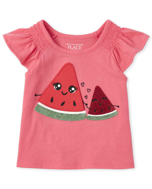 Baby And Toddler Girls Short Flutter Sleeve Glitter Peek-A-Boo Graphic Ruffle Top