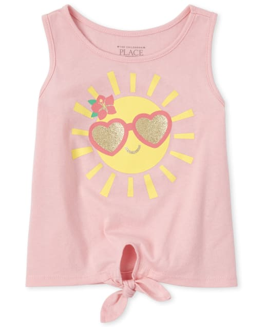 Baby And Toddler Girls Mix And Match Sleeveless Glitter Graphic Tie Front Tank Top