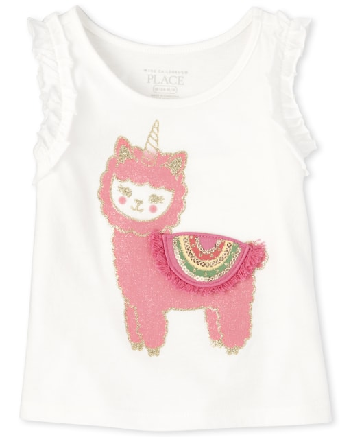 Baby And Toddler Girls Sleeveless Graphic Ruffle Tank Top