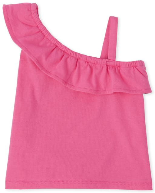 Baby And Toddler Girls Mix And Match Sleeveless Ruffle One Shoulder Top