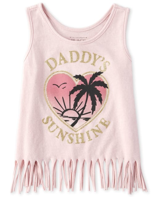 Baby And Toddler Girls Mix And Match Sleeveless Glitter Graphic Fringe Tank Top