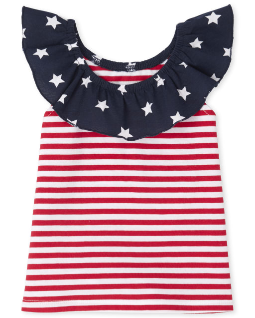 Baby And Toddler Girls Mix And Match Short Flutter Sleeve Star Print And Stripes Ruffle Top