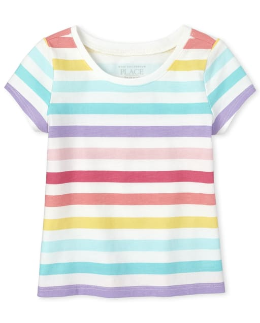 Baby And Toddler Girls Short Sleeve Rainbow Striped Basic Layering Tee