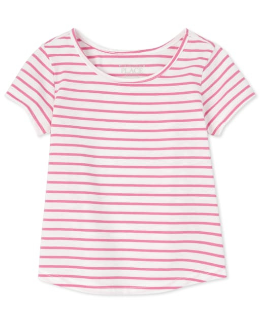Baby And Toddler Girls Short Sleeve Striped Basic Layering Tee