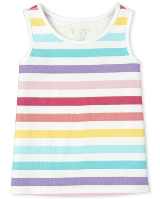 Baby And Toddler Girls Sleeveless Rainbow Striped Tank Top