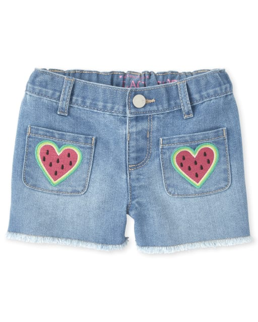 Baby And Toddler Girls Embroidered Watermelon Heart Denim Shortie Shorts