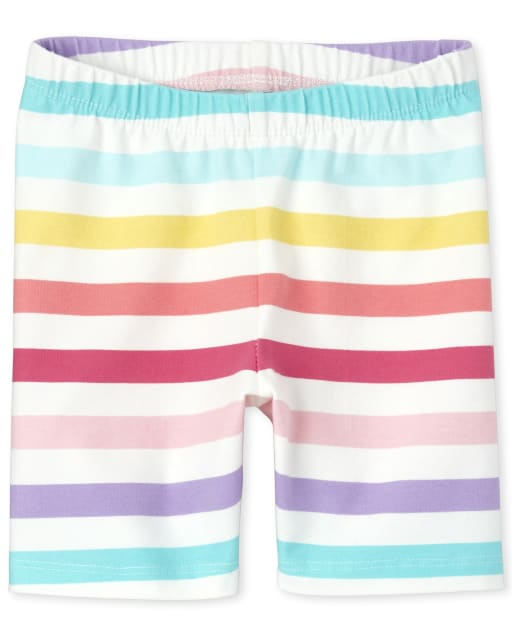 Baby And Toddler Girls Mix And Match Rainbow Striped Knit Bike Shorts