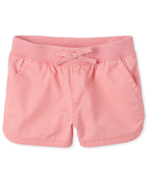 Baby And Toddler Girls Knit Waistband Woven Pull On Shorts
