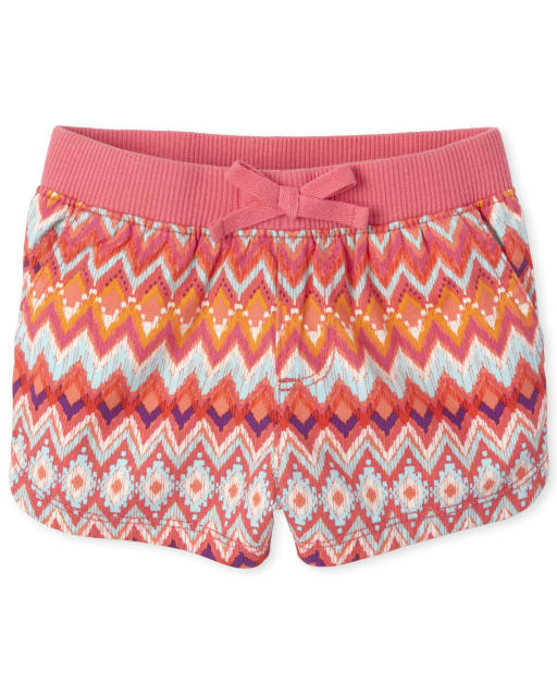 Baby And Toddler Girls Print Knit Waistband Woven Pull On Shorts