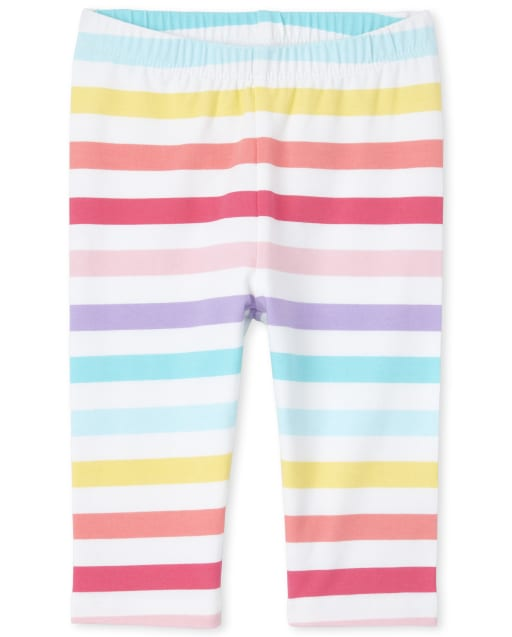 Baby And Toddler Girls Rainbow Striped Knit Capri Leggings