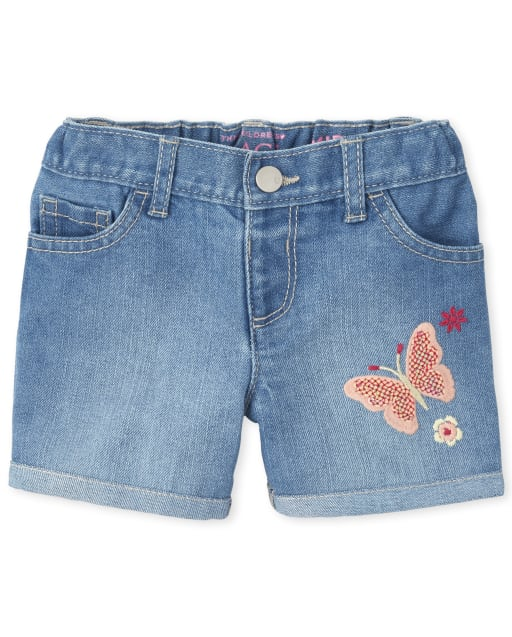 Baby And Toddler Girls Embroidered Butterfly Graphic Denim Midi Shorts