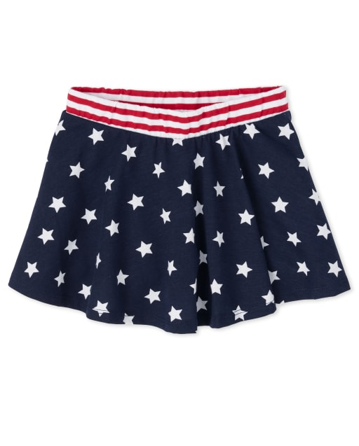 Baby And Toddler Girls Americana Mix And Match Star Print Knit Matching Skort