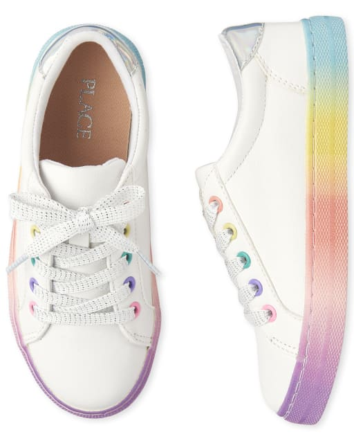 Girls Rainbow Ombre Faux Leather Sneakers