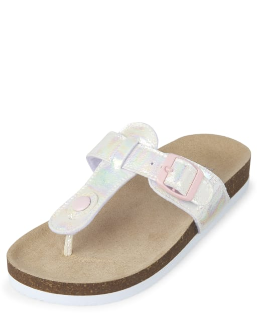 Girls Iridescent Faux Leather Sandals