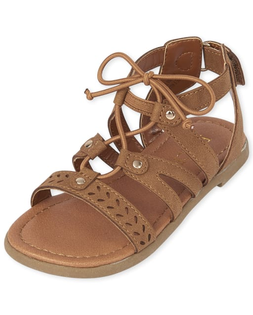 Toddler Girls Studded And Laser Cut Matching Faux Leather Gladiator Sandals