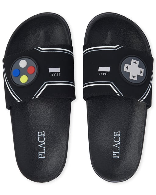 Boys Video Game Faux Leather Slides