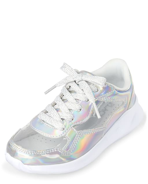 Girls Holographic Clear Faux Leather Running Sneakers