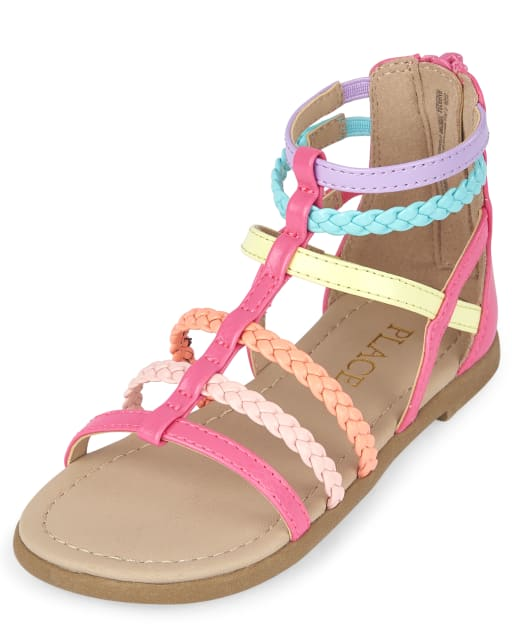 Toddler Girls Rainbow Braided Faux Leather Gladiator Sandals