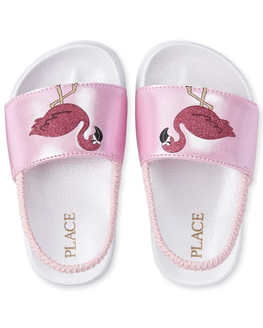 Toddler Girls Holographic Flamingo Faux Leather Slides