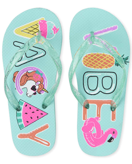 Girls 'Vacay Vibes' Flamingo Flip Flops
