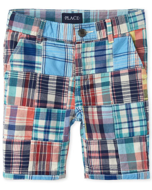 Boys Plaid Patch Woven Chino Shorts
