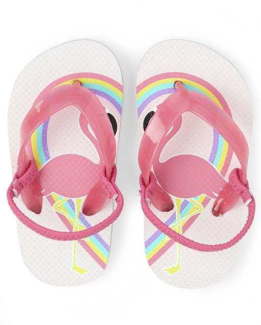 Toddler Girls Flamingo Rainbow Flip Flops