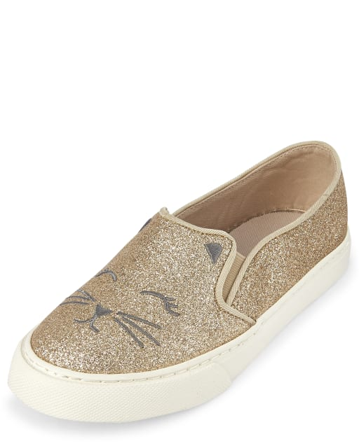 Girls Glitter Embroidered Cat Matching Faux Leather Slip On Sneakers