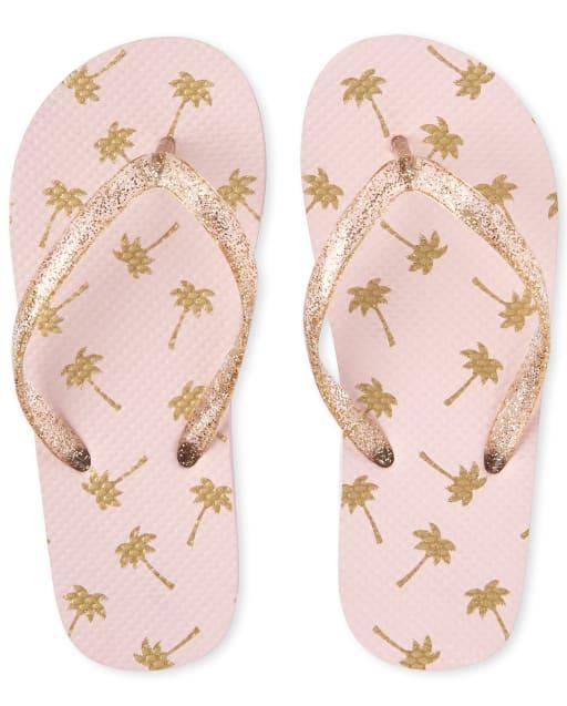 Girls Glitter Palm Tree Flip Flops