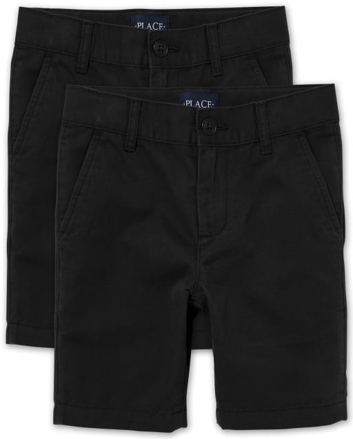 Pack de 2 pantalones cortos chinos elásticos de uniforme para niños