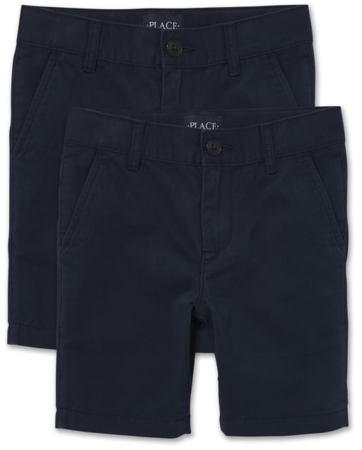 Boys Uniform Woven Stretch Chino Shorts 2-Pack