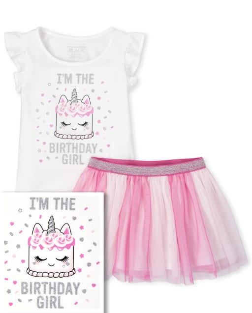 Conjunto de falda de tutú y top con volantes de pastel con purpurina de manga corta para cumpleaños de bebés y niñas pequeñas