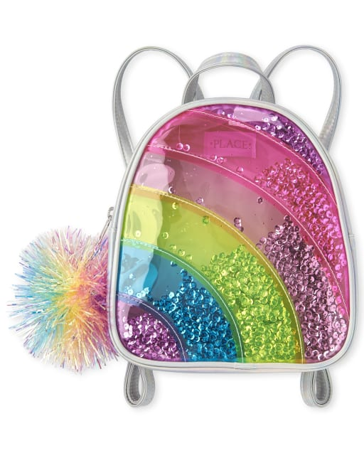 Girls Confetti Shaker Holographic Rainbow Mini Backpack