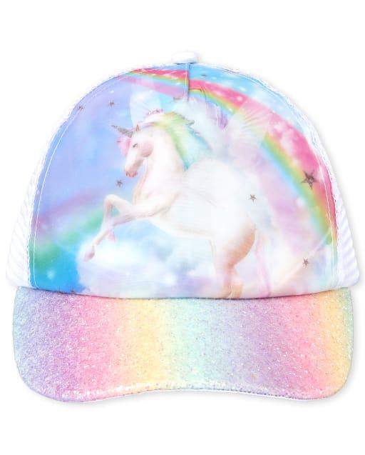 Girls Holographic Lenticular And Glitter Rainbow Pegasus Baseball Hat