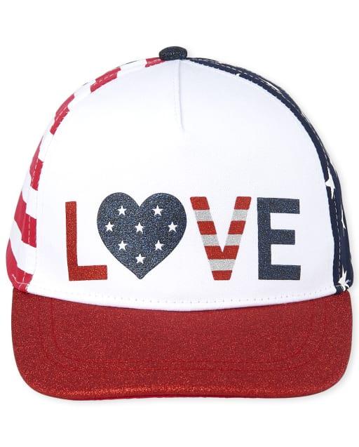 Gorra de béisbol con estampado de rayas y estrellas para niñas Americana Glitter ' Love '
