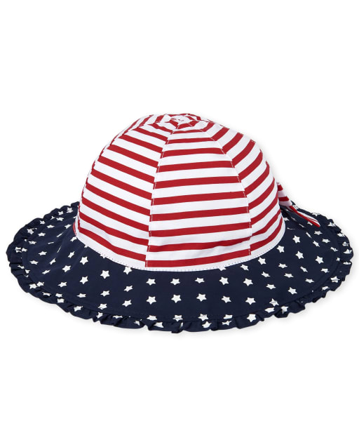 Toddler Girls Americana Stripes and Stars Print Bucket Hat
