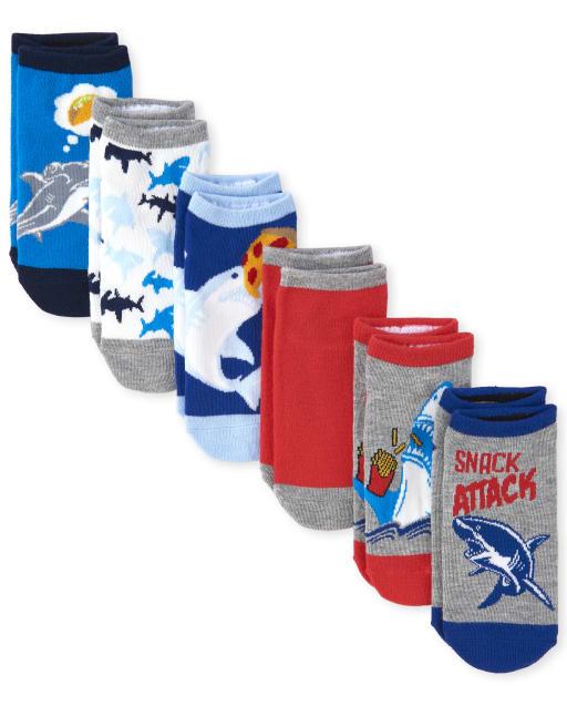 Boys Shark Ankle Socks 6-Pack