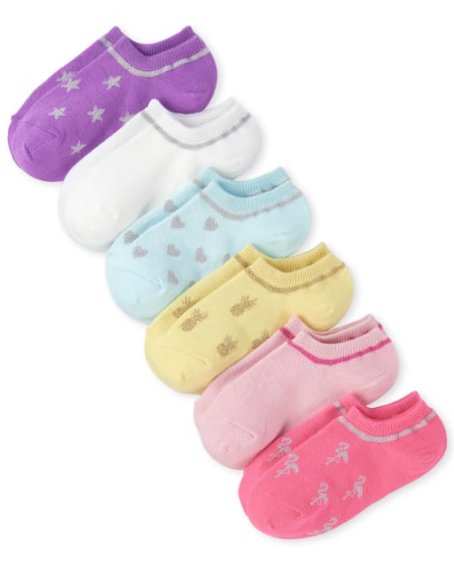 Girls Glitter Pineapple And Flamingo Low Ankle Socks 6-Pack