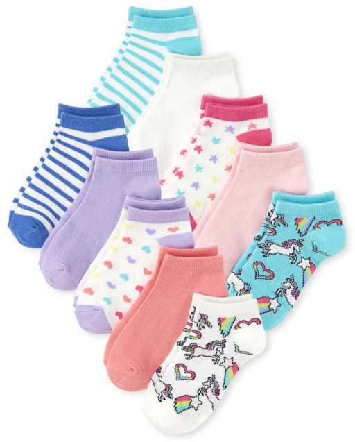 Girls Unicorn Striped Ankle Socks 10-Pack