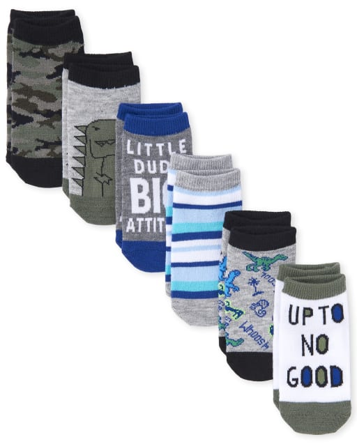 Toddler Boys Camo And Dino Ankle Socks 6-Pack