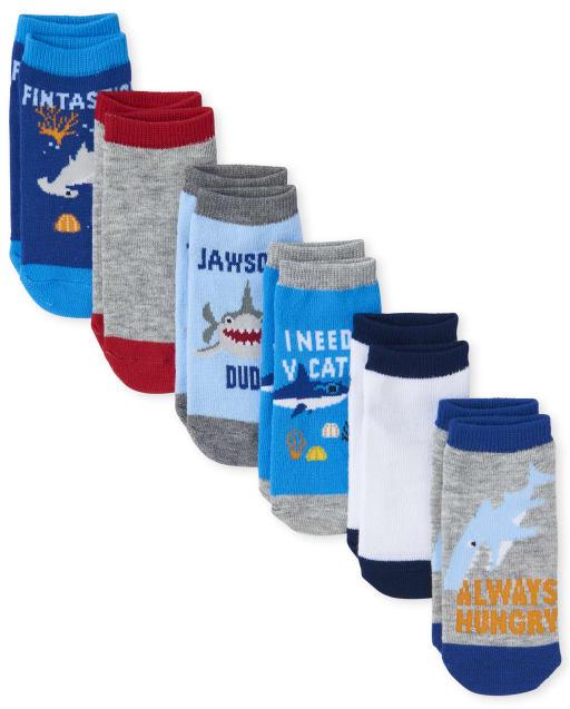 Paquete de 6 pares de calcetines al tobillo con diseño de tiburón para niños pequeños