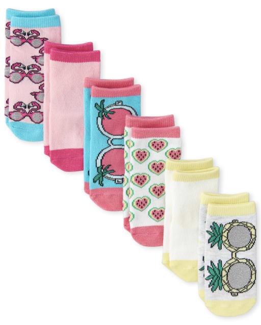 Calcetines tobilleros con purpurina y purpurina para niñas pequeñas, paquete de 6