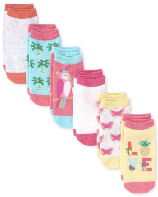 Calcetines tobilleros con purpurina para niñas pequeñas, paquete de 6