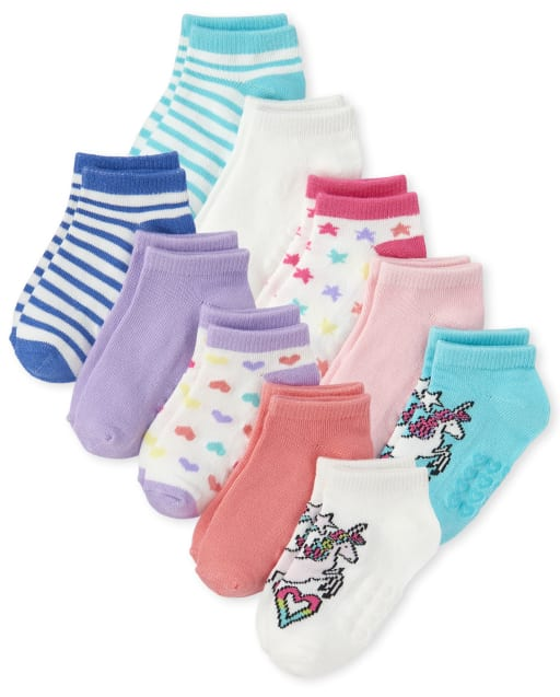 Toddler Girls Unicorn Striped Ankle Socks 10-Pack