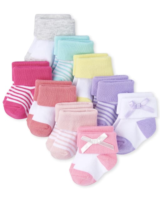Baby Girls Striped And Solid Turn Cuff Socks 9-Pack