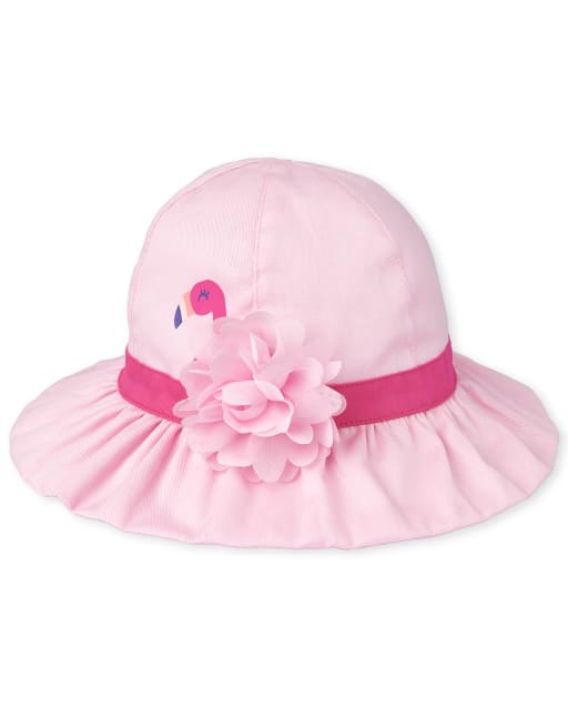 Toddler Girls Flamingo Matching Ruffle Bucket Hat