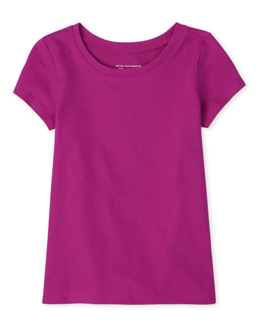 Baby And Toddler Girls Uniform Short Sleeve Basic Layering Tee