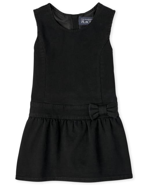 Jersey tejido con cinturón y cinta sin mangas de uniforme para niñas pequeñas