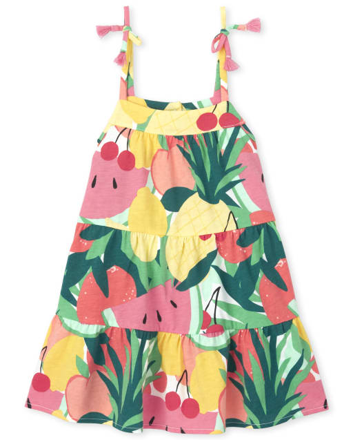 Baby And Toddler Girls Mommy And Me Short Sleeve Fruit Print Knit Matching Tiered Dress