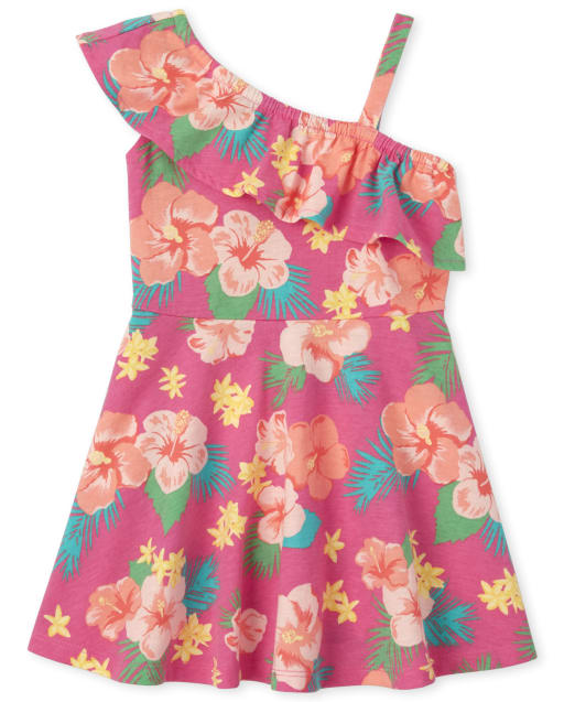 Baby And Toddler Girls Sleeveless Floral Print Knit One Shoulder Dress