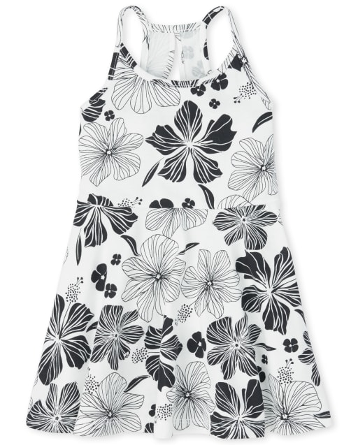 Baby And Toddler Girls Sleeveless Floral Print Knit Cut Out Dress